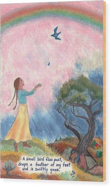 A Small Bird Haiku And Illustration Wood Print
