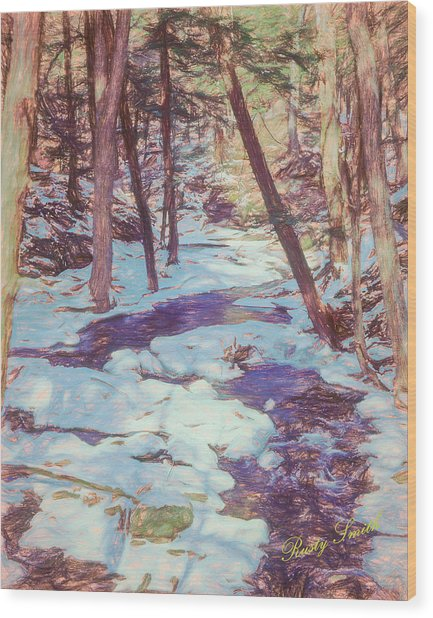 A Small Stream Meandering Through Winter Landscape. Wood Print