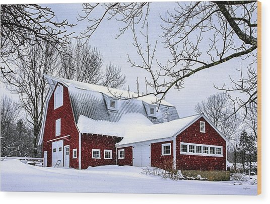 A Snowy Day At Grey Ledge Farm Wood Print