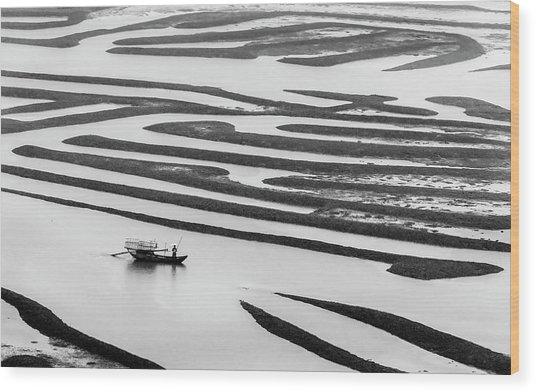 A Solitary Boatman. Wood Print