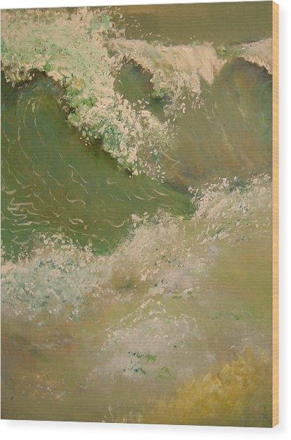 A Storm At Sea Wood Print