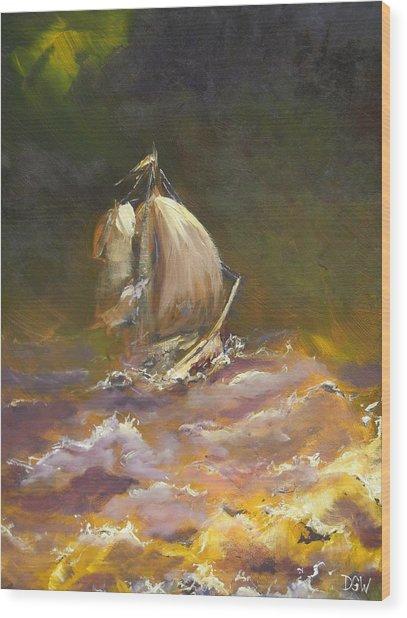 A Stormy Night At Sea Wood Print