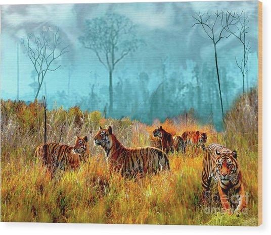 A Streak Of Tigers Wood Print