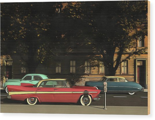 A Street With Oldtimers Wood Print