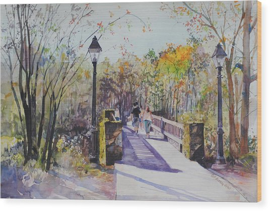 A Stroll On The Bridge Wood Print