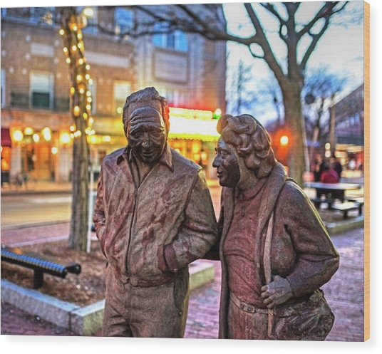 A Stroll Through Davis Square Somerville Ma Wood Print