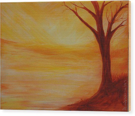 ...a Sun Sets Wood Print by Amy Stewart Hale