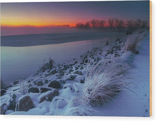 Wood Print featuring the photograph A Sunrise Cold by John De Bord