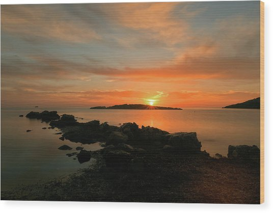 A Sunset In Ibiza Wood Print