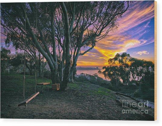 A Swinging Sunset From The Secret Swings Of La Jolla Wood Print