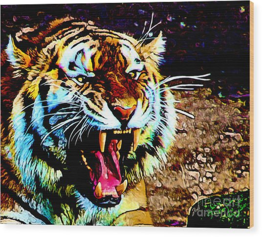 A Tiger's Roar Wood Print