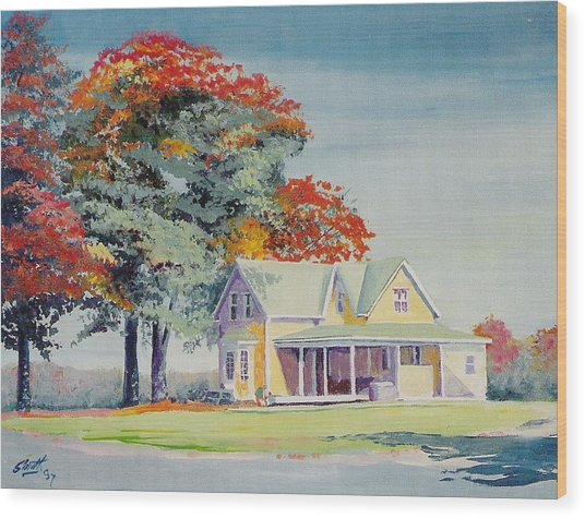 A Touch Of Fall Wood Print by Barry Smith