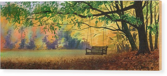 A Tree Swing Wood Print