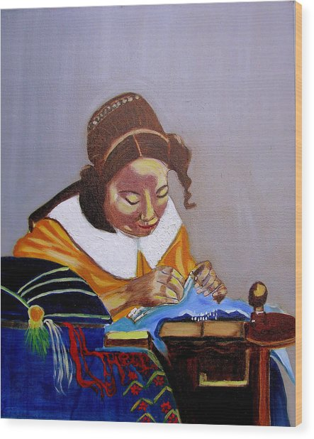 A Tribute To Vermeer  The Lacemaker Wood Print