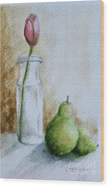 A Tulip And Two Pears Wood Print