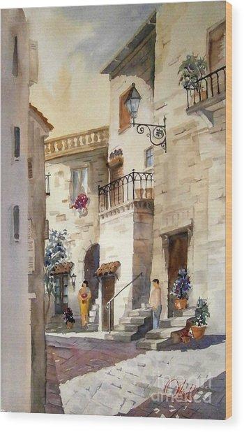 A Tuscan Street Scene Wood Print