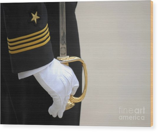 Wood Print featuring the photograph A U.s. Naval Academy Midshipman Stands by Stocktrek Images