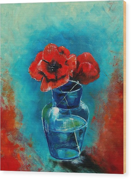 A Vase With Poppies  Wood Print by Veronique Radelet