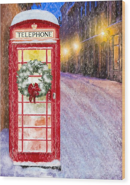 Wood Print featuring the mixed media A Very British Christmas by Mark Tisdale