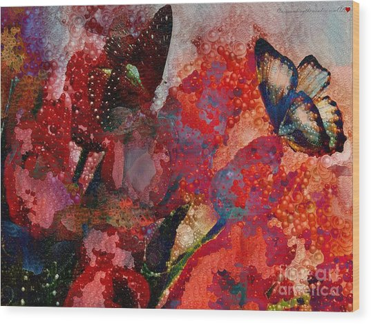 A Very Fairy Tale Of Two Butterflies In Pearlesque Wood Print