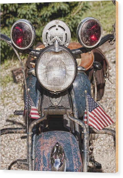 A Very Old Indian Harley-davidson Wood Print
