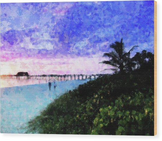 A View At Naples Pier Wood Print