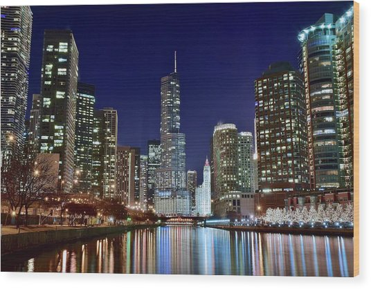 A View Down The Chicago River Wood Print