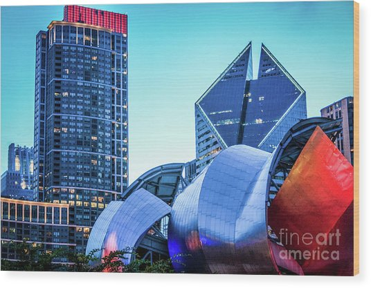 A View From Millenium Park At Dusk Wood Print