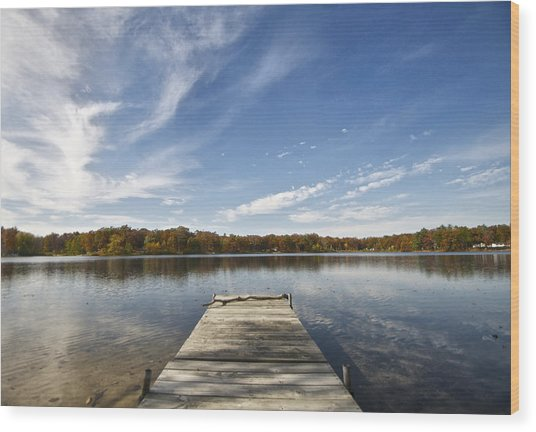A View From The Dock Wood Print