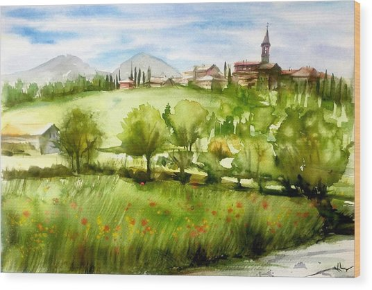 A View From Tuscany Wood Print
