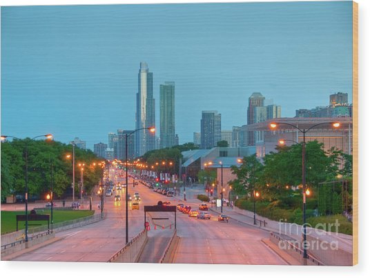 A View Of Columbus Drive In Chicago Wood Print