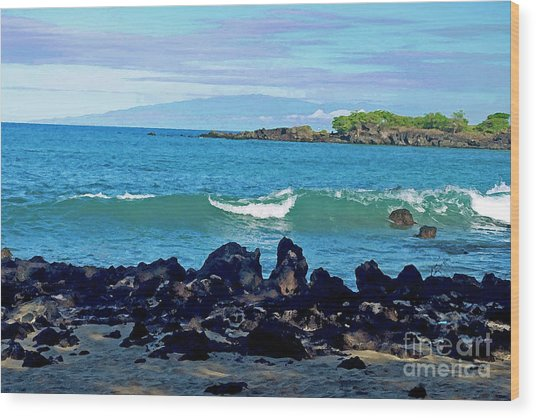 A View Of Maui From Wailea Bay Wood Print
