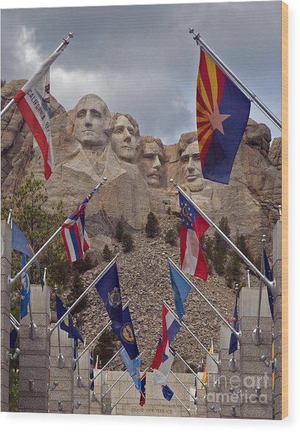 A View Of Mt. Rushmore Wood Print by Robert Pilkington