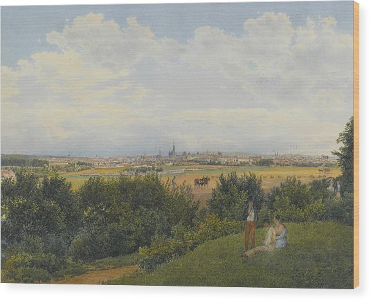 A View Of Vienna From The Prater With Figures In The Foreground Wood Print