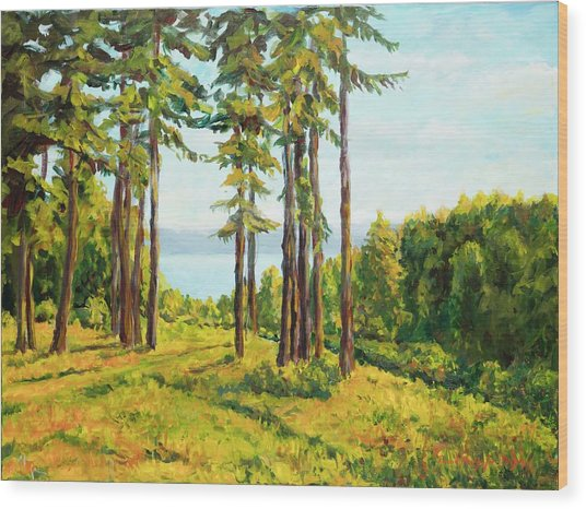 A View To The Lake Wood Print