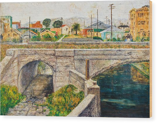 A Walk Along The Canal By Victor Herman Wood Print by Joni Herman