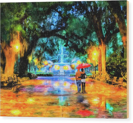 Wood Print featuring the painting A Walk In Forsyth Park - Savannah by Mark Tisdale