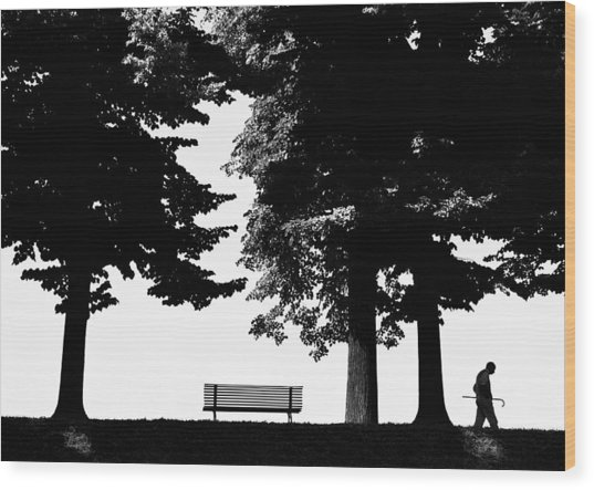 A Walk In The Park Wood Print by Artecco Fine Art Photography