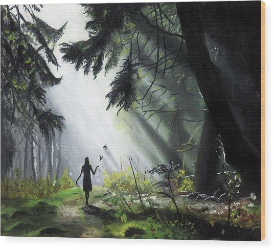A Walk In The Woods Wood Print by Chris Wiese