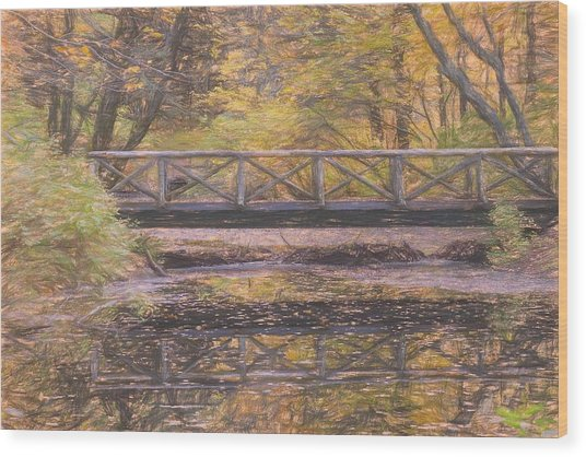A Walking Bridge Reflection On Peaceful Flowing Water. Wood Print