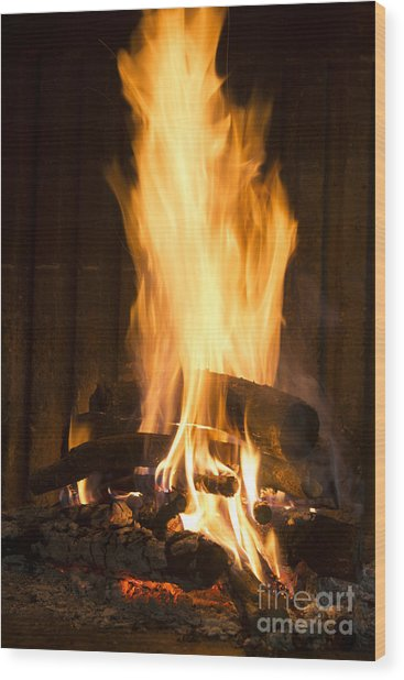 A Warm Fire In A Chimney Wood Print