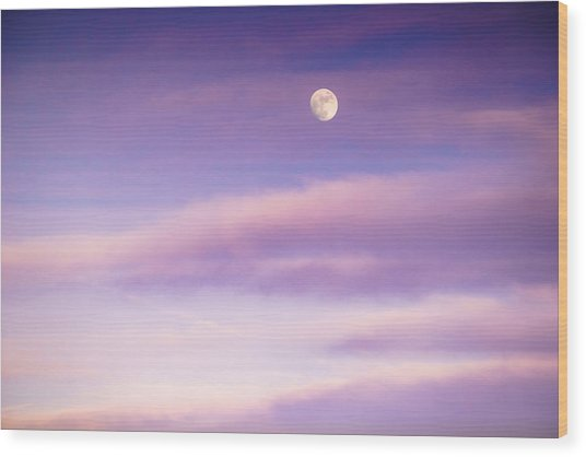 A White Moon In Twilight Wood Print