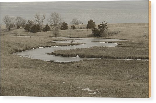 A Winding Creek In Winter As Geese Fly Overhead Wood Print