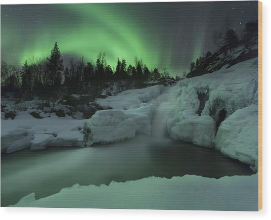 Wood Print featuring the photograph A Wintery Waterfall And Aurora Borealis by Arild Heitmann