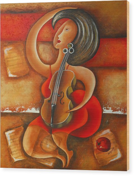 A Woman And Her Violin Wood Print by Marta Giraldo