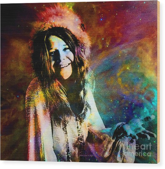A Woman Of 1970 Rock And Roll Wood Print