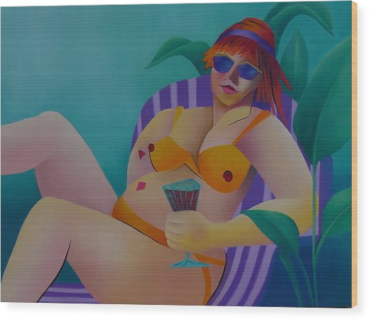 A Woman Of Leisure Wood Print by Karin Eisermann