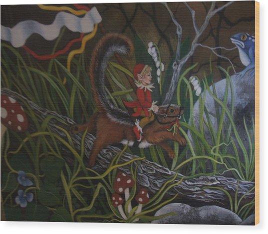 A Woodland Jaunt Wood Print by Joan Barnard