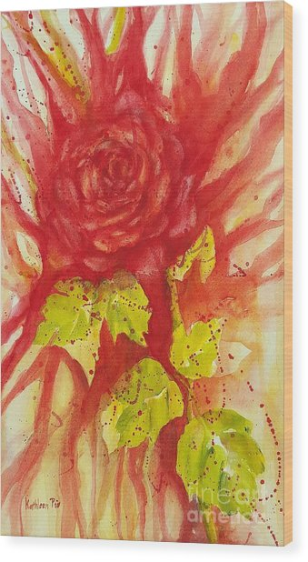 A Wounded Rose Wood Print
