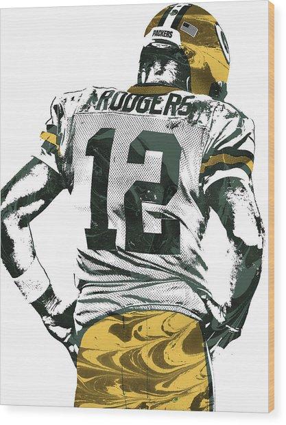 Aaron Rodgers Green Bay Packers Pixel Art 6 Wood Print